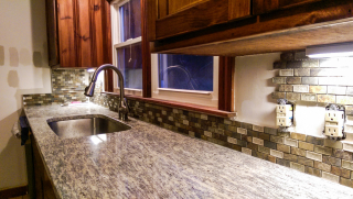 Sink backsplash w paint sample
