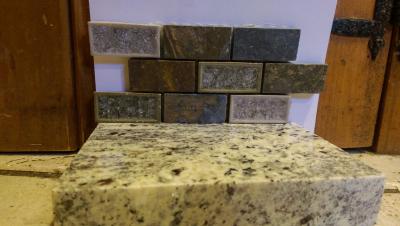 Counter w bricklike backsplash